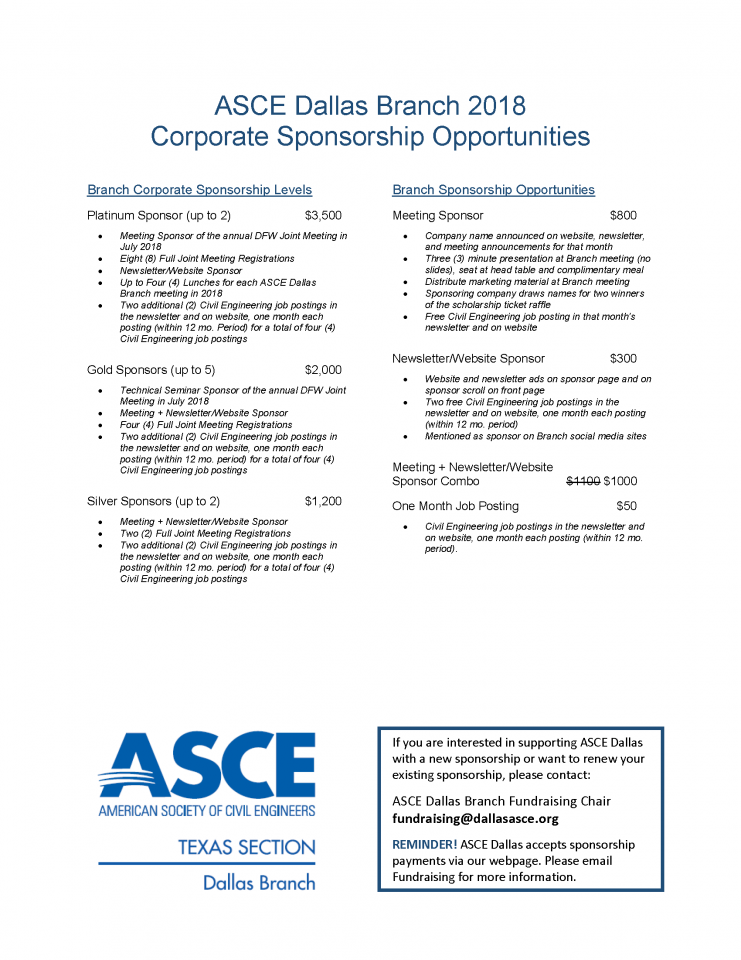 ASCE Dallas Branch 2017 Corporate Scholarship Opportunities